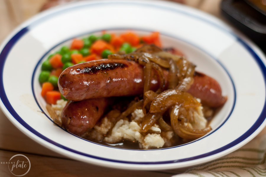 Bangers and Mash Recipe in a bowl