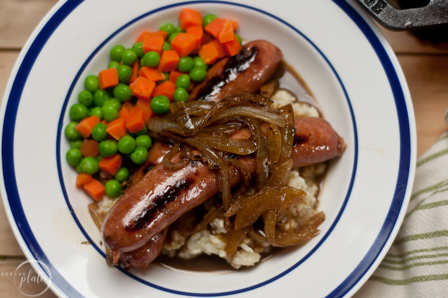 Overhead shot of Bangers and Mash